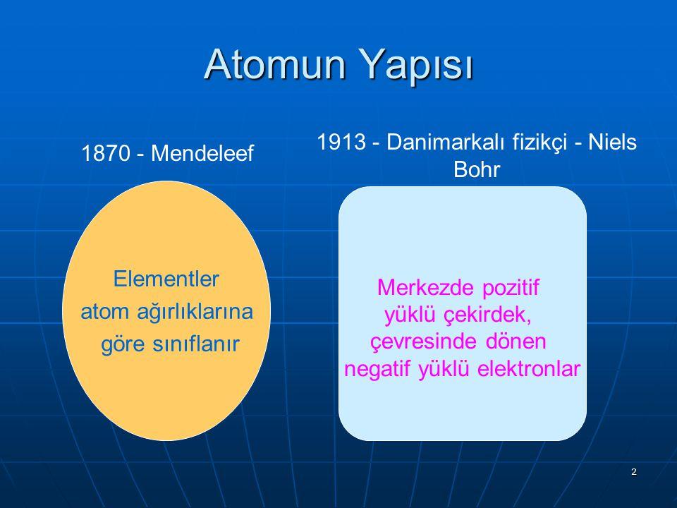 Atomun Yapısı 1913 - Danimarkalı fizikçi - Niels Bohr 1870 - Mendeleef