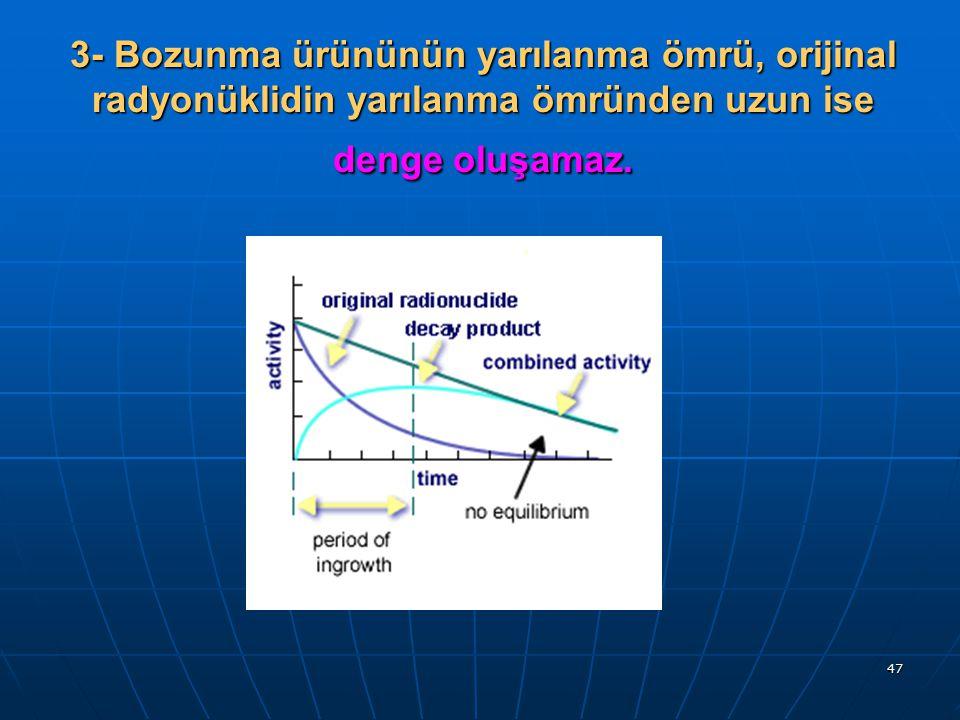 3- Bozunma ürününün yarılanma ömrü, orijinal radyonüklidin yarılanma ömründen uzun ise denge oluşamaz.