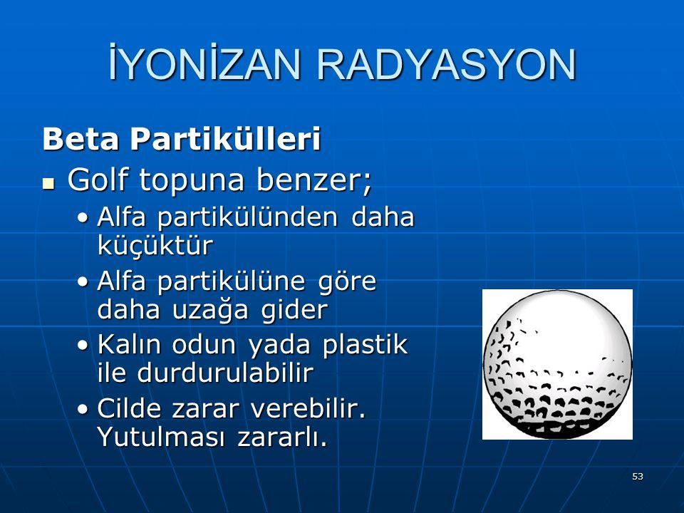 İYONİZAN RADYASYON Beta Partikülleri Golf topuna benzer;