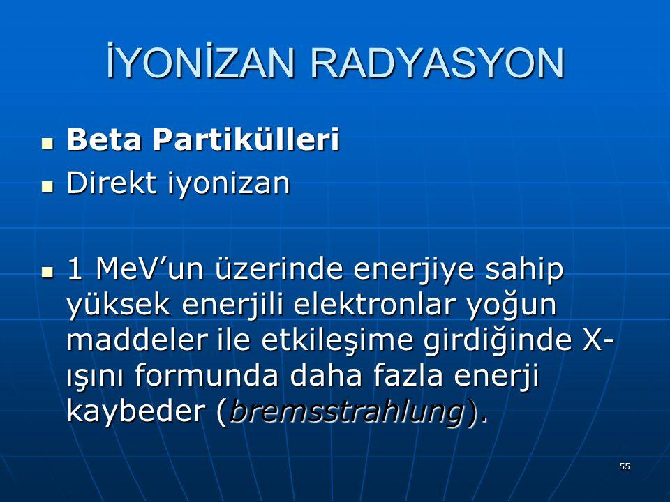 İYONİZAN RADYASYON Beta Partikülleri Direkt iyonizan