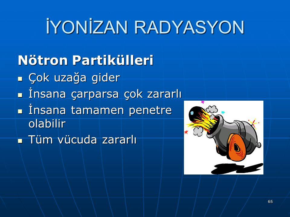 İYONİZAN RADYASYON Nötron Partikülleri Çok uzağa gider
