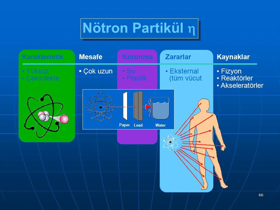 Nötron Partikül h Karakteristik • Yüksüz • Çekirdekte Mesafe