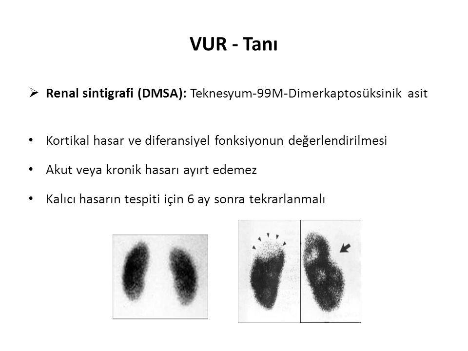 VUR - Tanı Renal sintigrafi (DMSA): Teknesyum-99M-Dimerkaptosüksinik asit. Kortikal hasar ve diferansiyel fonksiyonun değerlendirilmesi.