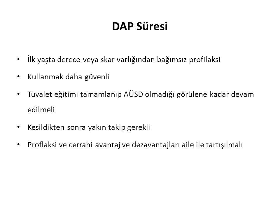 DAP Süresi İlk yaşta derece veya skar varlığından bağımsız profilaksi