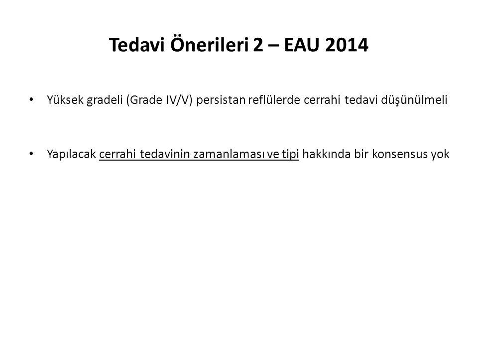 Tedavi Önerileri 2 – EAU 2014 Yüksek gradeli (Grade IV/V) persistan reflülerde cerrahi tedavi düşünülmeli.