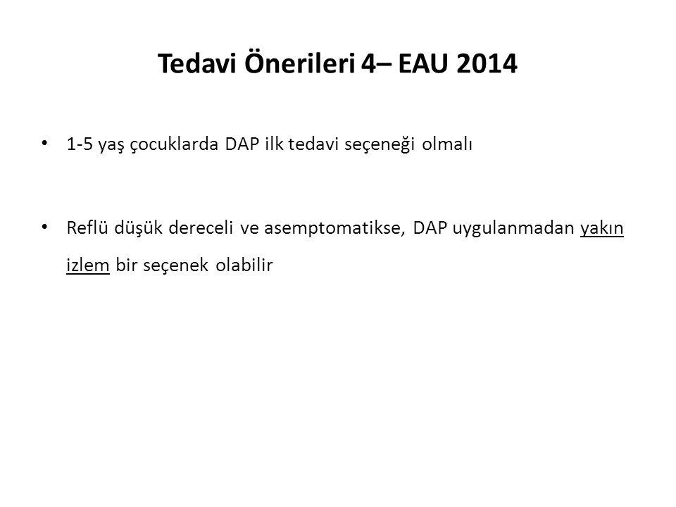 Tedavi Önerileri 4– EAU 2014 1-5 yaş çocuklarda DAP ilk tedavi seçeneği olmalı.