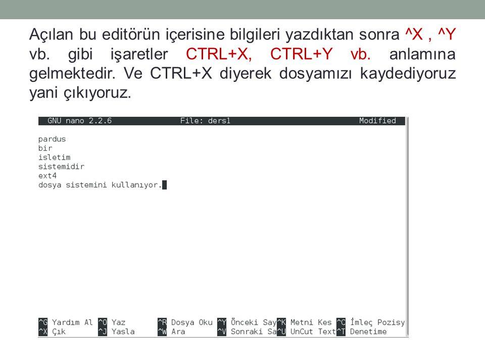 Açılan bu editörün içerisine bilgileri yazdıktan sonra ^X , ^Y vb