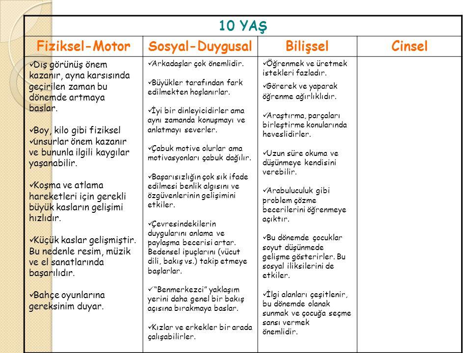 10 YAŞ Fiziksel-Motor Sosyal-Duygusal Bilişsel Cinsel