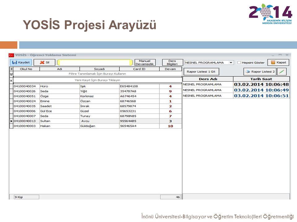 YOSİS Projesi Arayüzü İnönü Üniversitesi-Bilgisayar ve Öğretim Teknolojileri Öğretmenliği