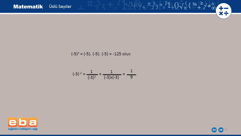 Üslü Sayılar (-5)3 = (-5). (-5). (-5) = -125 olur. 1 1 1 (-3)-2 = = = (-3)2 (-3)x(-3) 9
