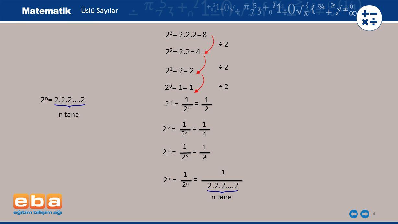 Üslü Sayılar 23= 2.2.2= 8. ÷ 2. 22= 2.2= 4. ÷ 2. 21= 2= 2. 20= 1= 1. ÷ 2. 2n= 2.2.2….2. 1 1.