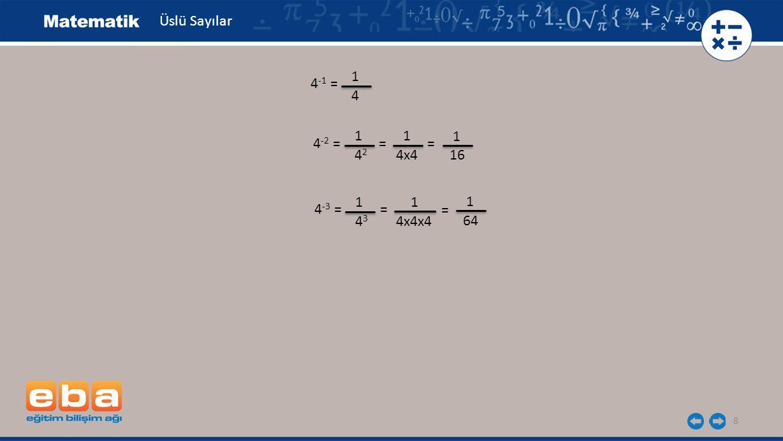 Üslü Sayılar 1 4-1 = 4 1 1 1 4-2 = = = 42 4x4 16 1 1 1 4-3 = = = 43 4x4x4 64