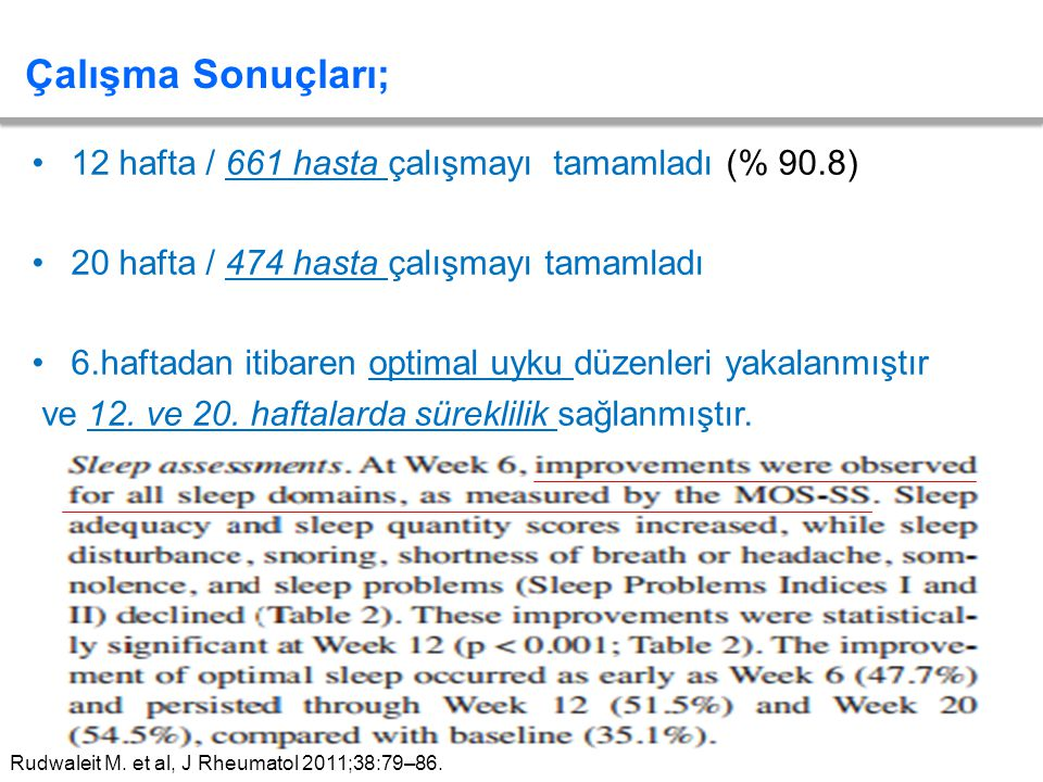 Çalışma Sonuçları; 12 hafta / 661 hasta çalışmayı tamamladı (% 90.8)