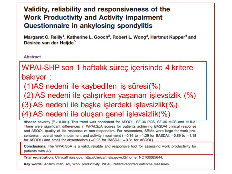 WPAI-SHP son 1 haftalık süreç içerisinde 4 kritere bakıyor :
