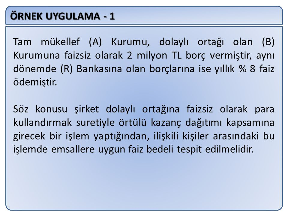 ÖRNEK UYGULAMA - 1