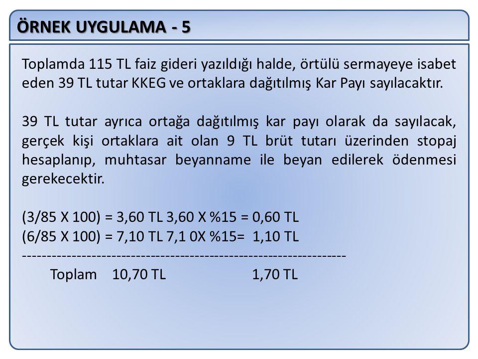 ÖRNEK UYGULAMA - 5