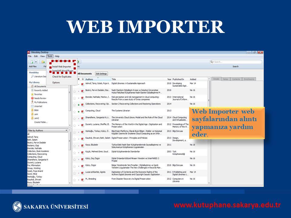 WEB IMPORTER www.kutuphane.sakarya.edu.tr