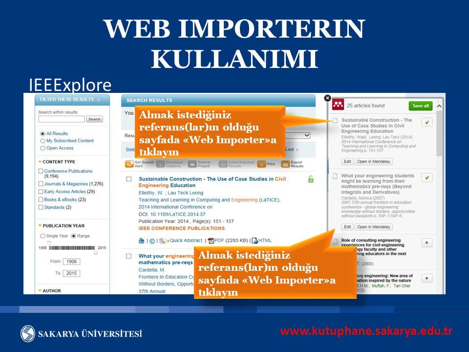 WEB IMPORTERIN KULLANIMI