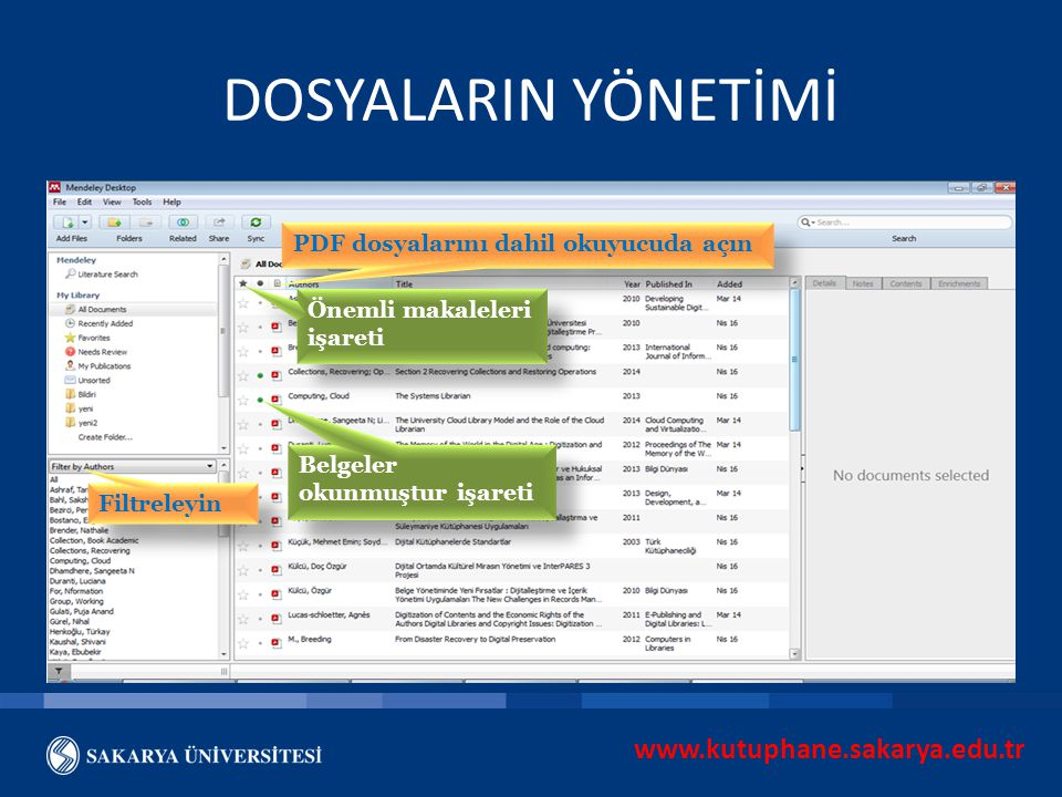 DOSYALARIN YÖNETİMİ www.kutuphane.sakarya.edu.tr