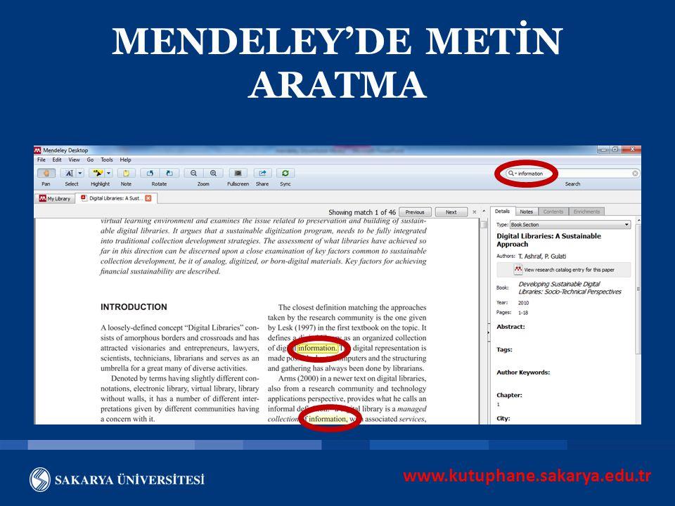 MENDELEY'DE METİN ARATMA