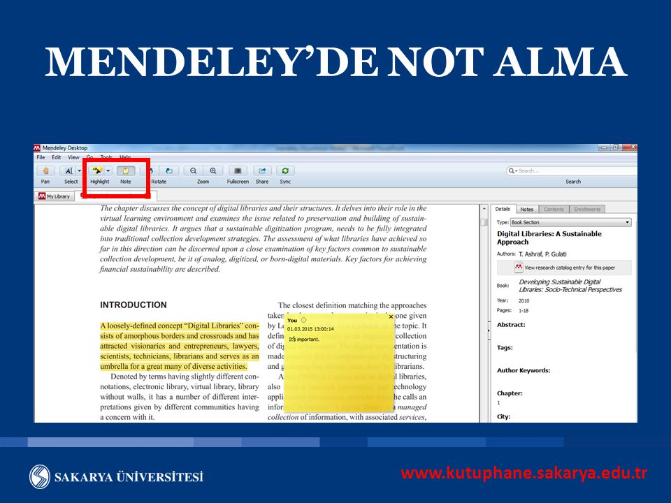 MENDELEY'DE NOT ALMA www.kutuphane.sakarya.edu.tr
