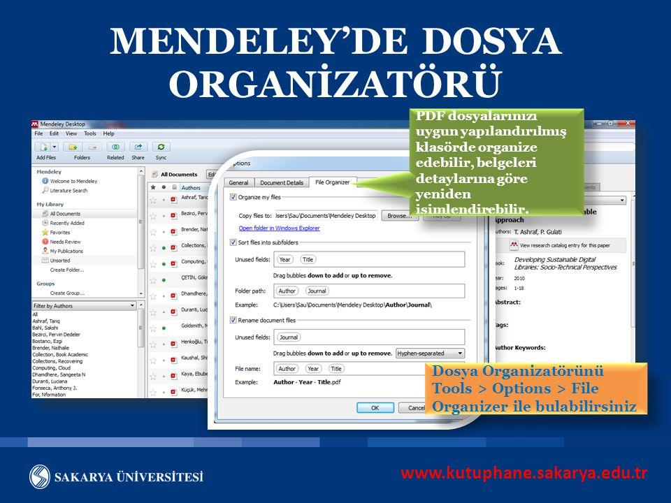 MENDELEY'DE DOSYA ORGANİZATÖRÜ