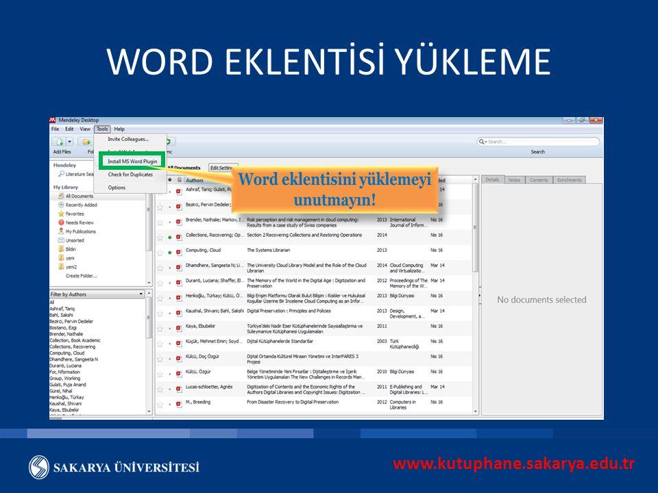 WORD EKLENTİSİ YÜKLEME