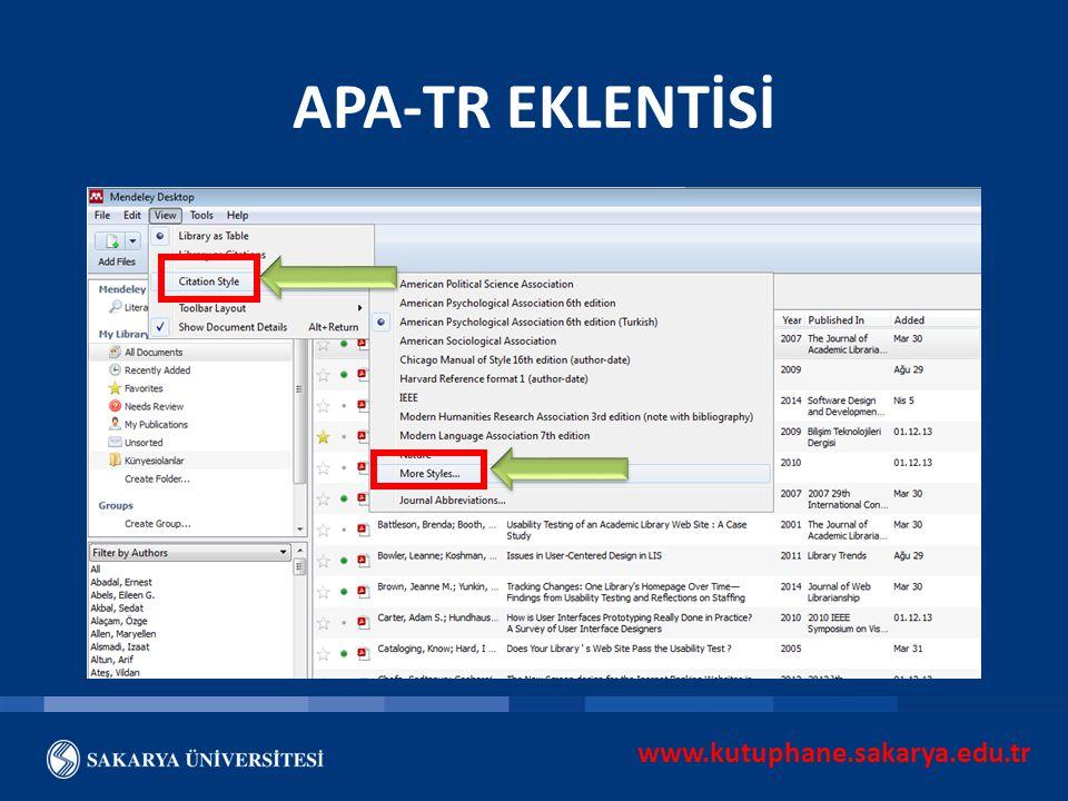 APA-TR EKLENTİSİ www.kutuphane.sakarya.edu.tr