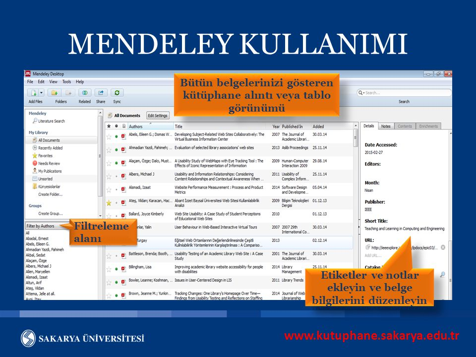 MENDELEY KULLANIMI www.kutuphane.sakarya.edu.tr