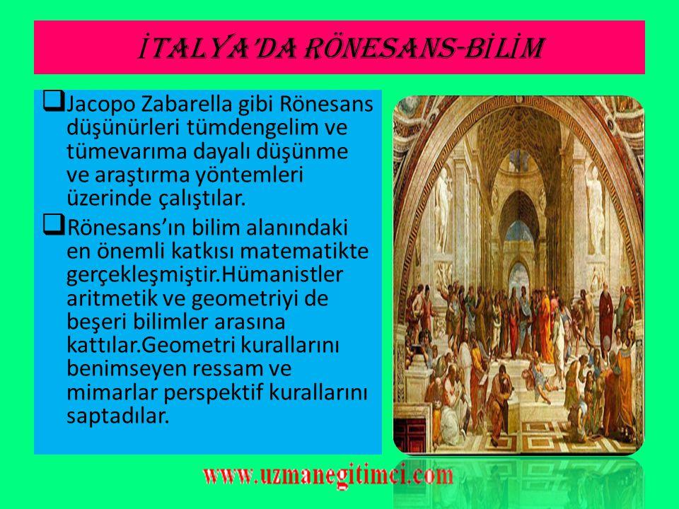 İTALYA'DA RÖNESANS-BİLİM