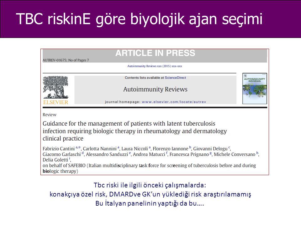 TBC riskinE göre biyolojik ajan seçimi