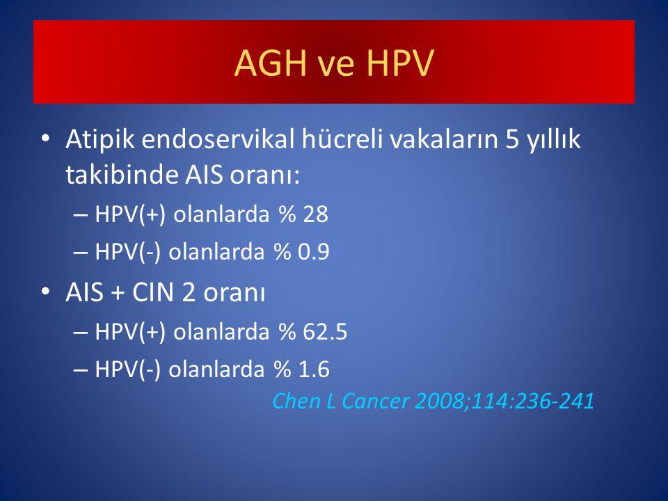 AGH ve HPV Atipik endoservikal hücreli vakaların 5 yıllık takibinde AIS oranı: HPV(+) olanlarda % 28.