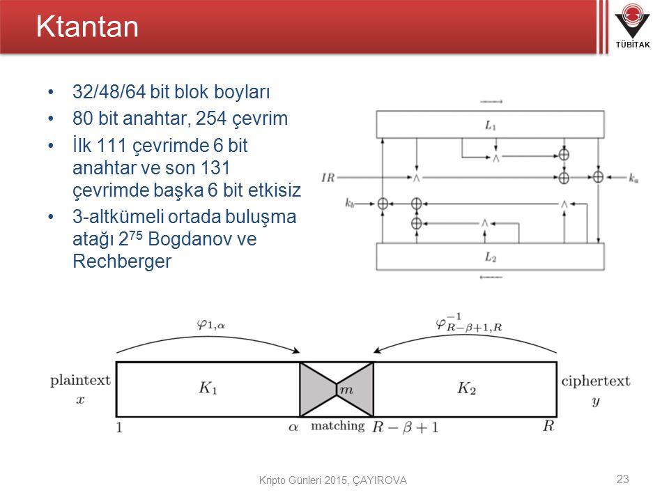 Ktantan 32/48/64 bit blok boyları 80 bit anahtar, 254 çevrim