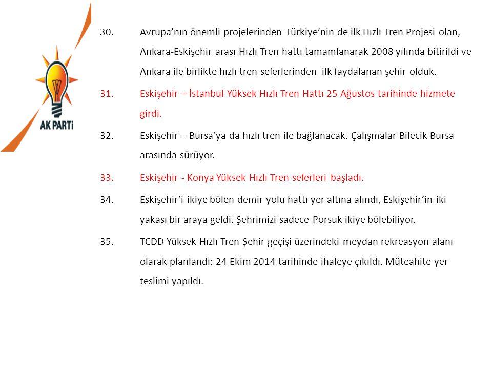 Avrupa'nın önemli projelerinden Türkiye'nin de ilk Hızlı Tren Projesi olan, Ankara-Eskişehir arası Hızlı Tren hattı tamamlanarak 2008 yılında bitirildi ve Ankara ile birlikte hızlı tren seferlerinden ilk faydalanan şehir olduk.