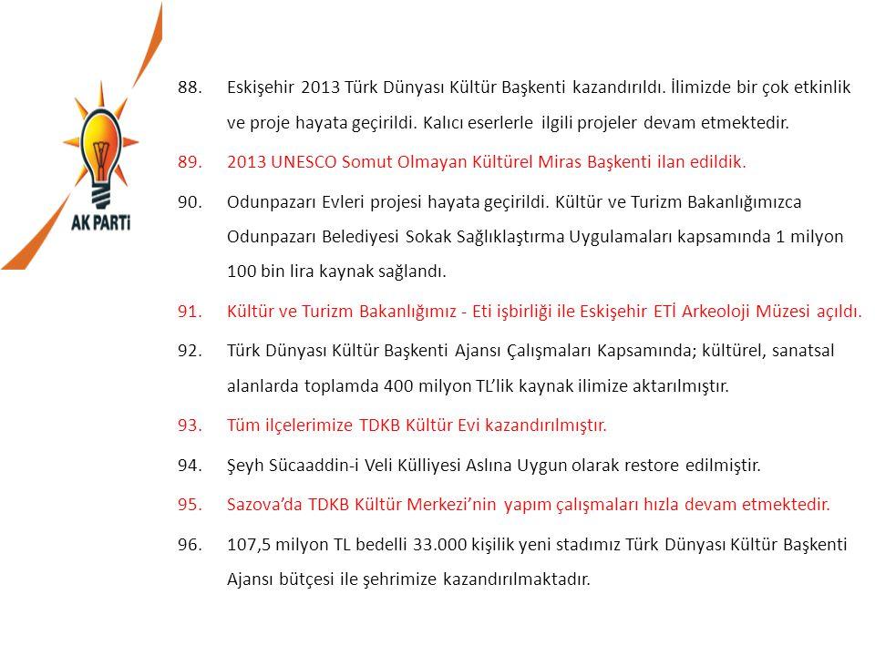 Eskişehir 2013 Türk Dünyası Kültür Başkenti kazandırıldı