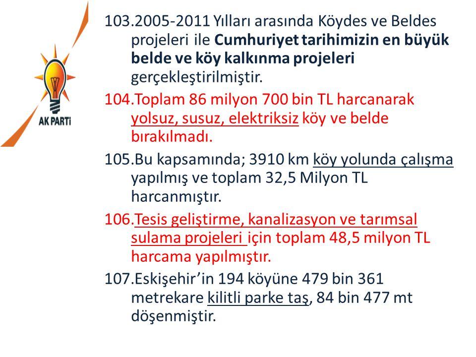 2005-2011 Yılları arasında Köydes ve Beldes projeleri ile Cumhuriyet tarihimizin en büyük belde ve köy kalkınma projeleri gerçekleştirilmiştir.