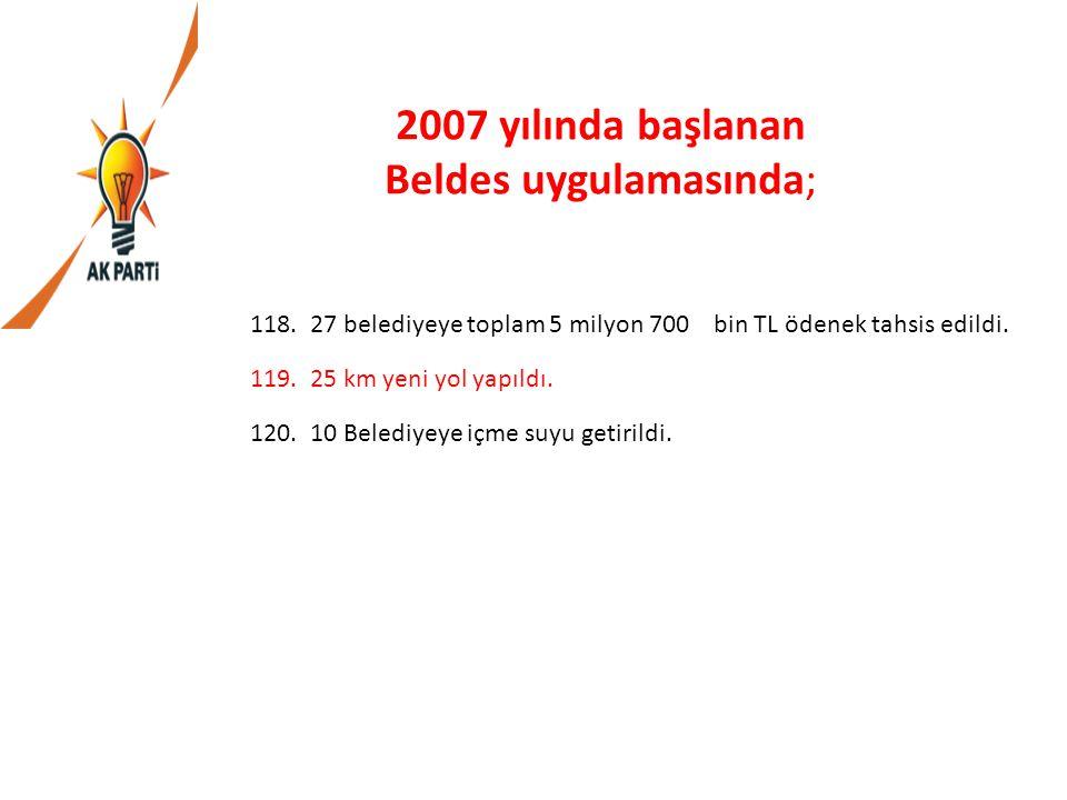 2007 yılında başlanan Beldes uygulamasında;