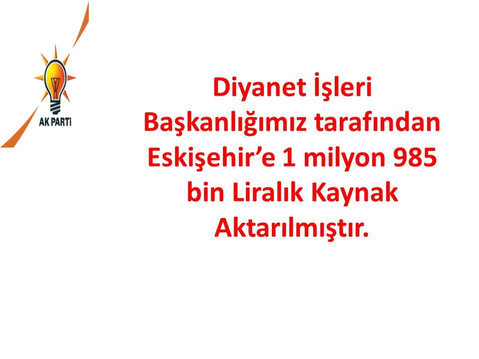 Diyanet İşleri Başkanlığımız tarafından Eskişehir'e 1 milyon 985 bin Liralık Kaynak Aktarılmıştır.