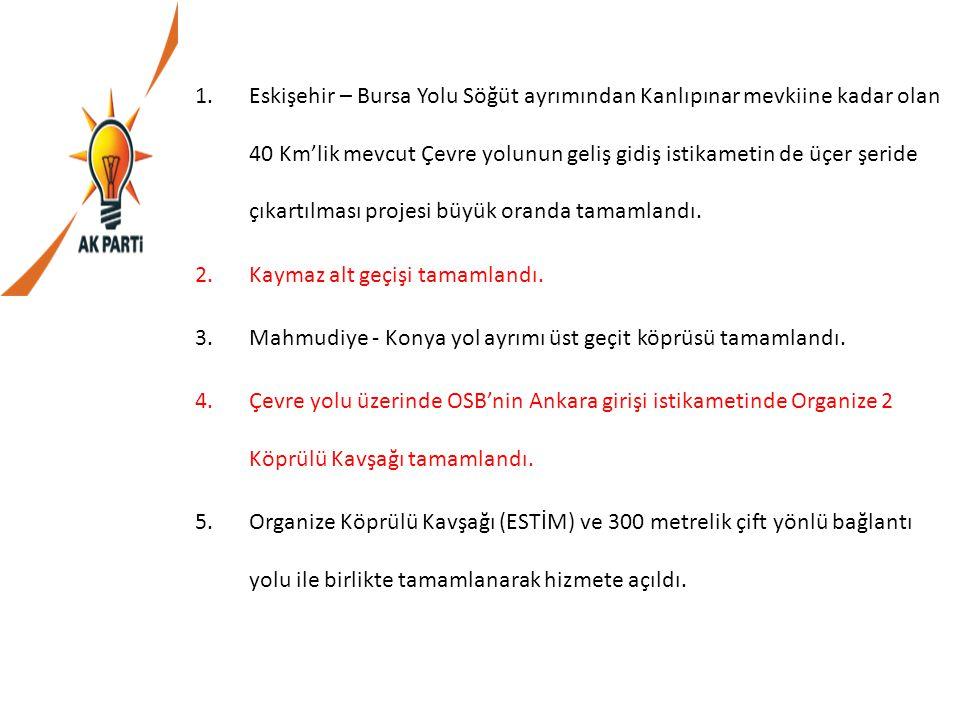 Eskişehir – Bursa Yolu Söğüt ayrımından Kanlıpınar mevkiine kadar olan 40 Km'lik mevcut Çevre yolunun geliş gidiş istikametin de üçer şeride çıkartılması projesi büyük oranda tamamlandı.