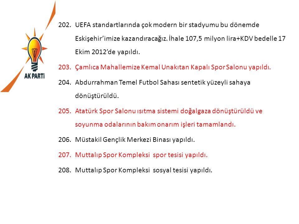UEFA standartlarında çok modern bir stadyumu bu dönemde Eskişehir'imize kazandıracağız. İhale 107,5 milyon lira+KDV bedelle 17 Ekim 2012'de yapıldı.