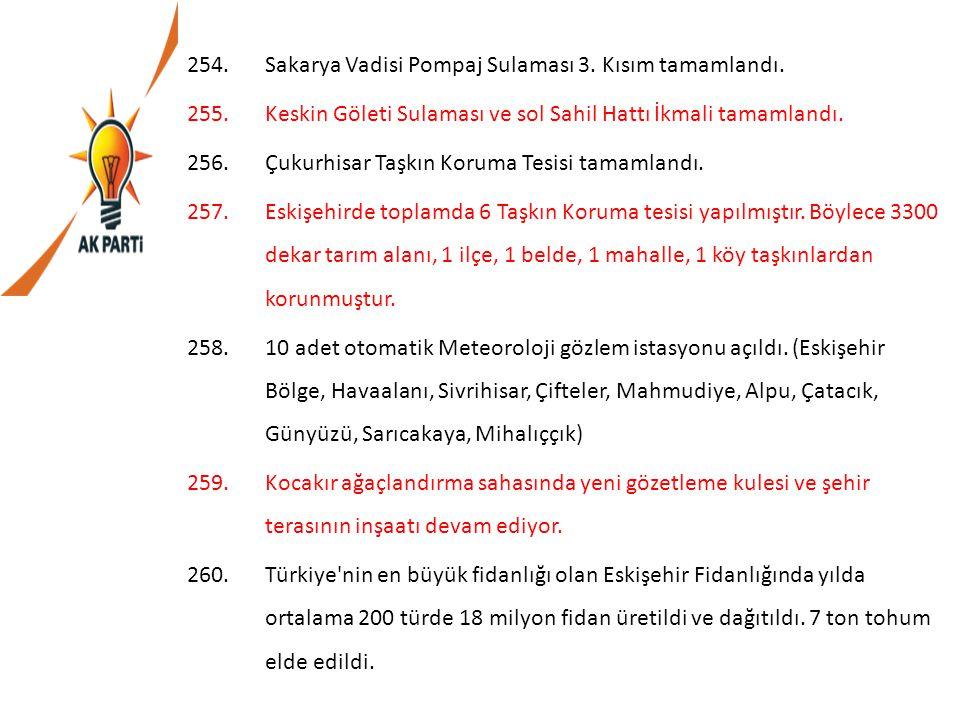 Sakarya Vadisi Pompaj Sulaması 3. Kısım tamamlandı.