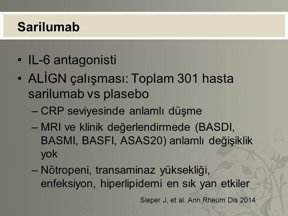 ALİGN çalışması: Toplam 301 hasta sarilumab vs plasebo