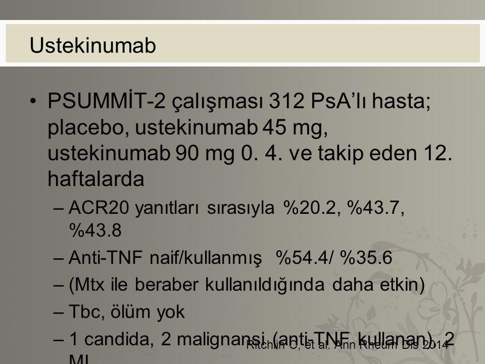 Ustekinumab PSUMMİT-2 çalışması 312 PsA'lı hasta; placebo, ustekinumab 45 mg, ustekinumab 90 mg 0. 4. ve takip eden 12. haftalarda.