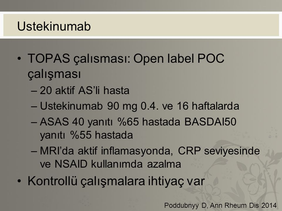 TOPAS çalısması: Open label POC çalışması