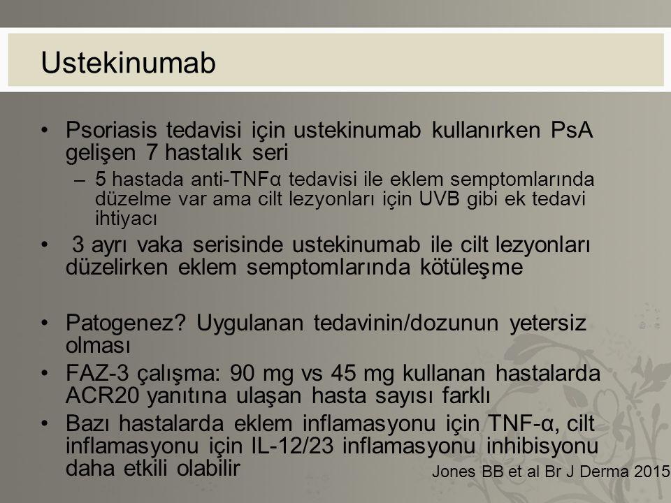 Ustekinumab Psoriasis tedavisi için ustekinumab kullanırken PsA gelişen 7 hastalık seri.