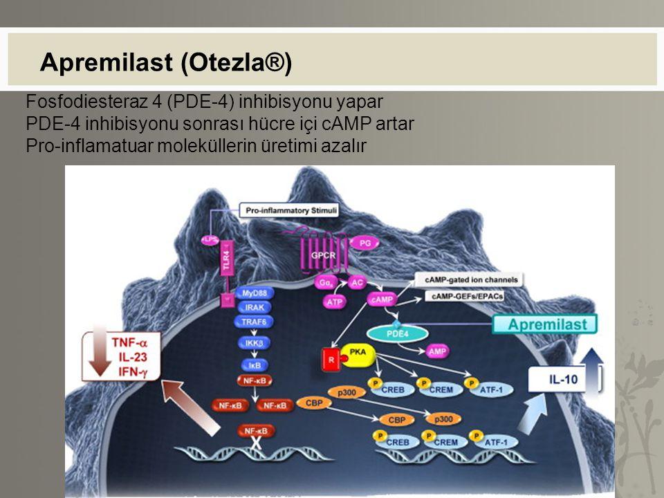 Apremilast (Otezla®) Fosfodiesteraz 4 (PDE-4) inhibisyonu yapar