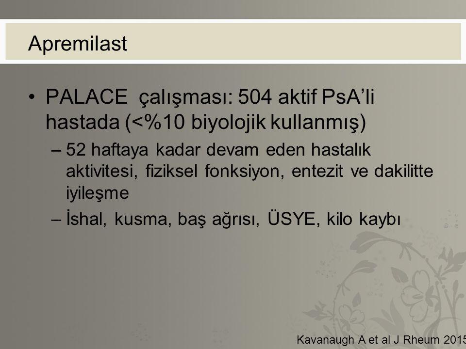 Apremilast PALACE çalışması: 504 aktif PsA'li hastada (<%10 biyolojik kullanmış)