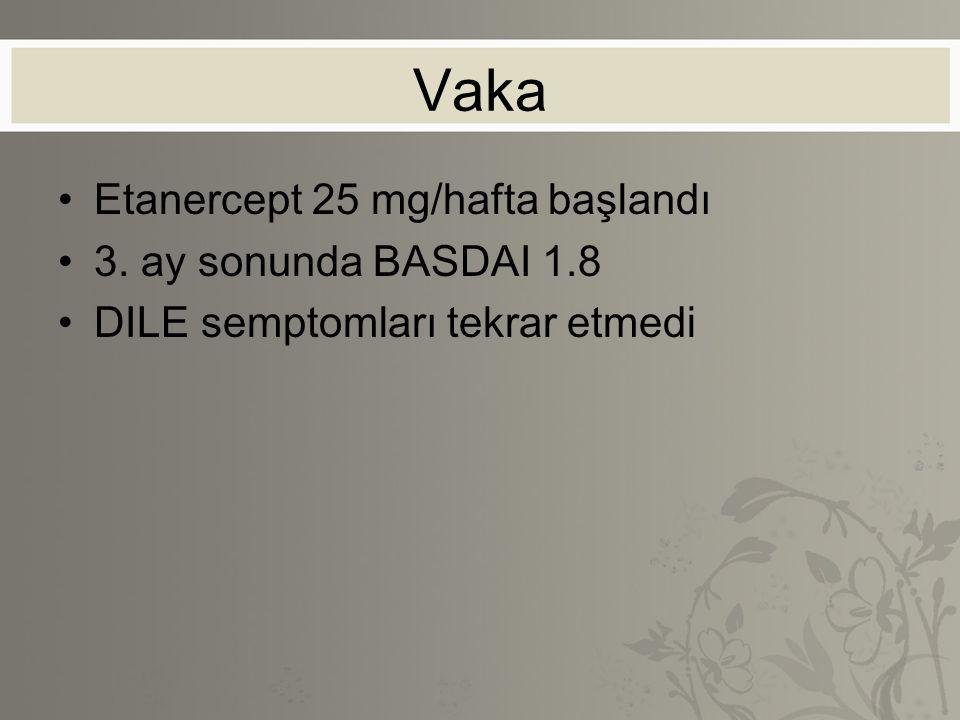 Vaka Etanercept 25 mg/hafta başlandı 3. ay sonunda BASDAI 1.8