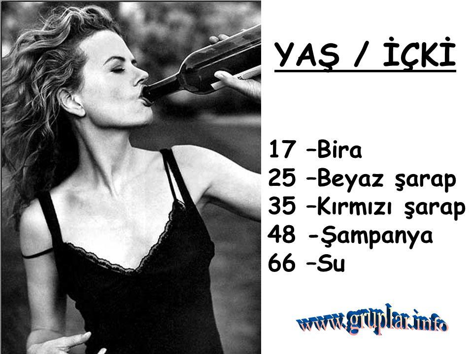 YAŞ / İÇKİ. 17 –Bira 25 –Beyaz şarap 35 –Kırmızı şarap 48 -Şampanya 66 –Su.