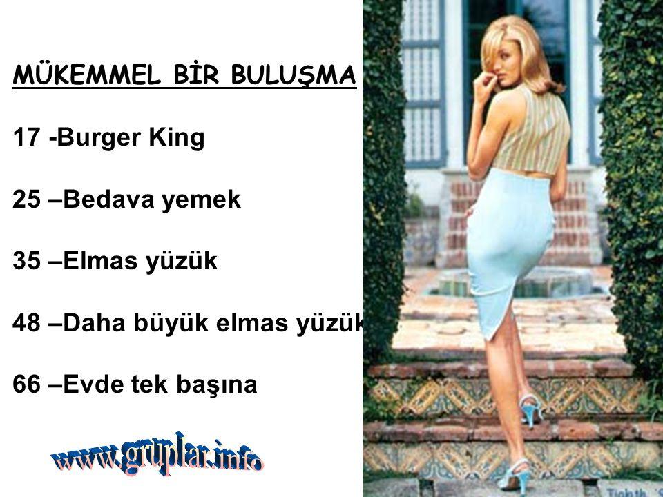 www.gruplar.info MÜKEMMEL BİR BULUŞMA 17 -Burger King 25 –Bedava yemek
